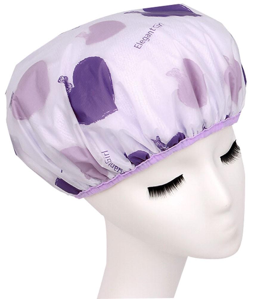 Japanese Syyle Double Layer Adult Waterproof Bath Shower Cap Bathing Cap Purple