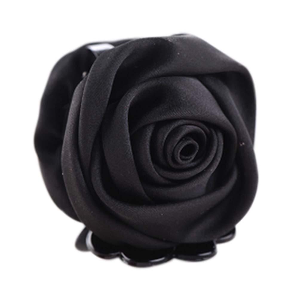 A Beautiful Rose Flower Hair Clips Headwear Ponytail Clip, Black