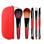 Portable  Red Makeup Brushes 5 Pieces Make Up Set Cosmetic Brush Tool