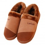 Slippers Family Non-slip Breathable Cotton Warm Slippers-Coffee