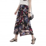 Printing Design Loose Fitting Pants Wide Leg Trousers Slacks for Women, #01