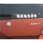"3 PCS Six Lovely Rabbit Stickers Funny Car Decal WHITE (9.8""x2.4"")"