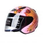 "Gloss Pink Beatle Motorcycle Helmet Street Bike Open Face Helmet (L,22""-23 1/5"")"