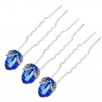 Tulip Synthetic Blue Crystal Diamond Pin U-shaped Hairpin Set