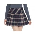 Thick Grey Plaid Mini Skirt Scottish Kilt Skirt, Medium