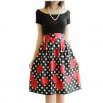 Elegant Women Pleated Vintage Skirts Floral Print Midi Skirt, Rose and Dots