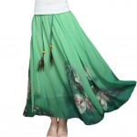 [Green Peacock] Bohemian Chiffon Full Skirt Bust Skirt Maxi Long Skirt,One Size