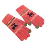 Winter Student Wool Gloves/Lovely Knitted Mittens/Telefingers Gloves/RED