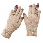 Cute Cartoon Gloves/Knitted Woolen Gloves/Fingers Gloves for Girls/BROWN