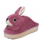 Winter Cartoon Rabbit Head Warm Home Cotton Slippers Shoes Without Heels, Purple
