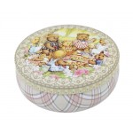 Round Cute Pill Boxes Candy Metal Case Storage Box, Pink Bear