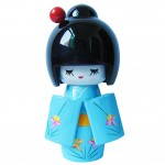 Cute Shy Girls Japanese Kimono Doll Toy for Home Office Desk Decorative, Blue