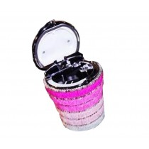 Creative Sparkling Portable Automotive Ashtray With Lid [Gradient Rose Red]