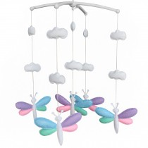 Crib Musical Hanging Rotate Bell Ring Rotate Crib Mobile [Cute Dragonfly]
