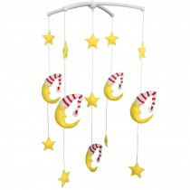Creative Rotate Bed Toy Handmade Baby Crib Bell Mobile [Moon and Stars]