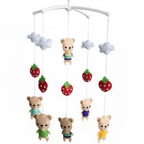 [Strawberry and Cartoon Bears] Unisex Baby Crib Rotatable Musical Mobile