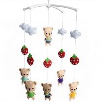 [Strawberry and Cartoon Bears] Unisex Baby Crib Rotatable Musical Mobile