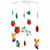 Cute Baby Crib Rotatable Musical Bed Bell [Cartoon Fox and Strawberry]