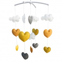 Handmade PU Leather Toys [Hearts] Baby Crib Rotatable Musical Mobile
