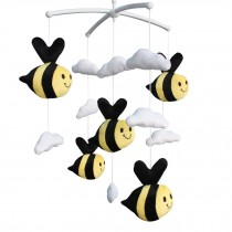 Cute Bee Plush Toy Adorable Baby Crib Decoration Music Mobile