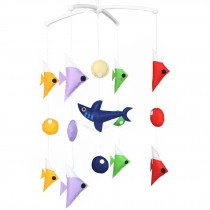 Crib Musical Hanging Rotate Bell Ring Rattle Mobile Toy [Shark]