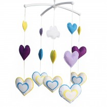 [Colorful Hearts] Nice Gift for Baby, Baby Crib Musical Mobile Music Box