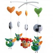 [Little Birds] Crib Musical Mobile, [Musical Note] Handmade Gift for Baby