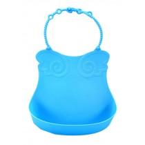 Baby Bibs Waterproof Food Catcher Deep Pocket Soft Adjustable Neckban blue