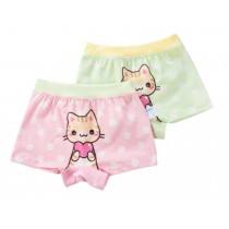 Little Girls Soft Cotton Panties 2PCS Cartoon Cat Underwears