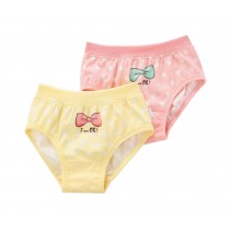 Set of 2,  Little Girls Soft Cotton Panties [Bow]
