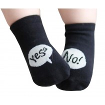 2 Pairs [Yes/No] Infant Toddler Socks Cotton Socks for Baby Child Kid 0-2 Years