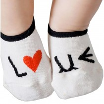 2 Pairs [Love] Infant Toddler Socks Cotton Socks for Baby Child Kid, 0-2 Years