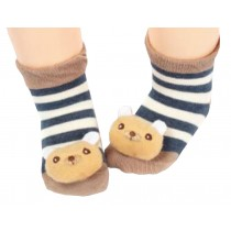 2 Pairs [Bear] Infant Toddler Socks Stripe Socks for Baby Kid, 6-18 Months