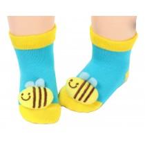 2 Pairs [Bee] Infant Toddler Socks Stripe Socks for Baby Kid, 6-18 Months
