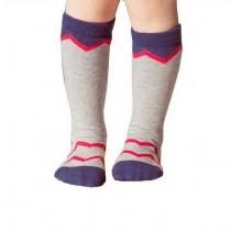 2 Pairs Knee High Stockings Unisex-baby Tube Socks for Kids [Waves, Grey]