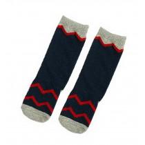 2 Pairs Knee High Stockings Unisex-baby Tube Socks for Kids [Waves, Navy]