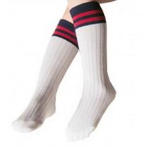 2 Pairs Knee High Stockings Unisex-baby Tube Socks for Kids [Stripes, White]