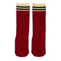 2 Pairs Knee High Stockings Unisex-baby Tube Socks for Kids [Stripes,Burgundy]