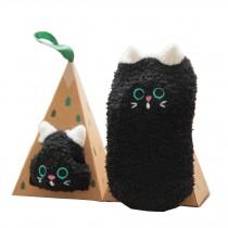Soft Coral Velvet Baby Socks Cute Cartoon Infant Socks Black Cat
