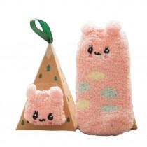Soft Coral Velvet Baby Socks Cute Cartoon Infant Socks Pink Rabbit