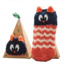 Soft Coral Velvet Baby Socks Cute Cartoon Infant Socks Red Owl