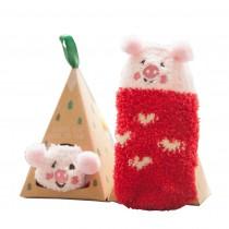 Soft Coral Velvet Baby Socks Cute Cartoon Infant Socks Red Pig