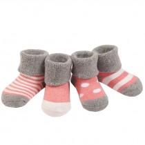 Set of 4 Soft Cotton Baby Socks Warm Winter Cute Infant Socks Pink