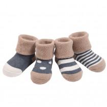 Set of 4 Soft Cotton Baby Socks Warm Winter Cute Infant Socks Blue