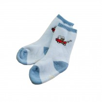 Set of 2 Newborn Thick Warm Cotton Socks 0-24 Months Baby Light Blue Train