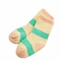 Set of 2 Newborn Thick Warm Cotton Socks 0-24 Months Baby Green Yellow Stripe