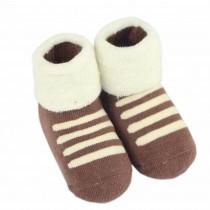 Set of 2 Newborn Thick Warm Cotton Socks 0-24 Months Baby Coffee