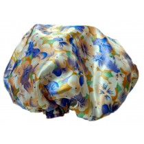 2PCS Satin&PVC Waterproof Multifunctional Double layer Shower Caps, Flower A