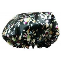 2PCS Satin&PVC Waterproof Multifunctional Double layer Shower Caps, Flower E