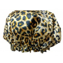 2PCS Satin&PVC Waterproof Multifunctional Double layer Shower Caps,Leopard